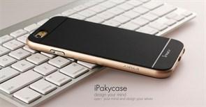 """Накладка силиконовая """"Hoco""""  Obsidian series для Apple Iphone 7+/5,5 (цвет=черный с золотом)"""