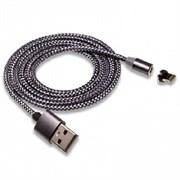 """Кабель USB """"WALKER"""" C590 для Apple iPhone X магнитный, с индикатором, в мат.обмотке (цвет=темно-серый)"""