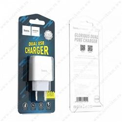 """Зарядное устройство """"Hoco"""" C73A 2 USB [2400 mA] (цвет=белый) - фото 5179"""