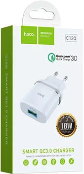 """Зарядное устройство QC3.0 быстрая зарядка """"Hoco"""" C12Q 1 USB [3000 mA] (цвет=белый) - фото 5181"""