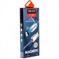 """Кабель USB """"WALKER"""" C590 для Micro USB магнитный, с индикатором (цвет=серебро) - фото 5302"""