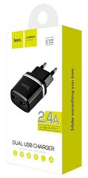 """Зарядное устройство """"Hoco"""" C12 2 USB [2400 mA] (цвет=черный) - фото 5304"""