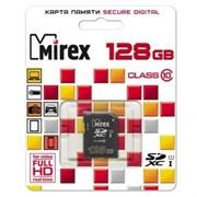 Карта памяти microSDXC с адаптером MIREX  128GB (UHS-I, class 10) (цвет=черный)