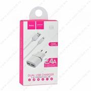 """Зарядное устройство """"Hoco"""" C12 2 USB [2400 mA] (цвет=белый)"""