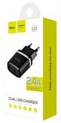 """Зарядное устройство """"Hoco"""" C12 2 USB [2400 mA] (цвет=черный)"""